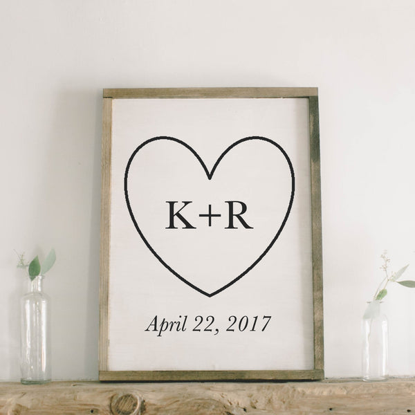 Personalized Initials and Date Rectangle Framed Wood Sign