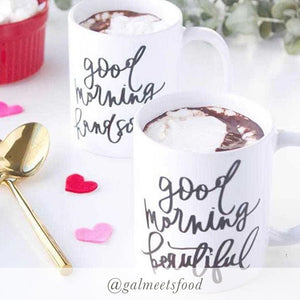 Set of 2 Good Morning Handsome & Beautiful Mugs
