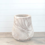 Natural Wood Round Planter