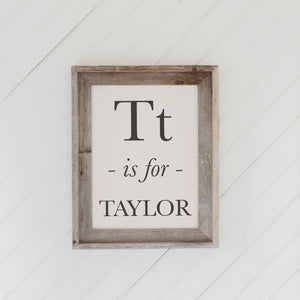 Personalized Alphabet Letter Barn Wood Framed Print