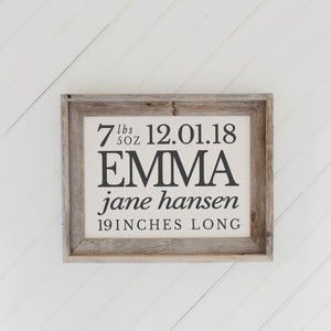 Personalized Birth Stats Barn Wood Framed Print