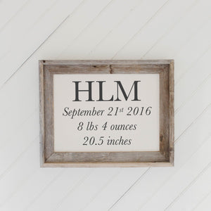 Personalized Birth Stat Initials Barn Wood Framed Print