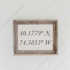 Personalized Coordinates Barn Wood Framed Print