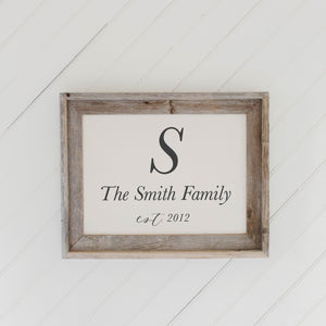 Personalized Family Name and Year Barn Wood Framed Print