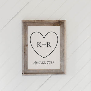 Personalized Heart Initials and Date Barn Wood Framed Print