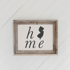 Personalized Home State Barn Wood Framed Print