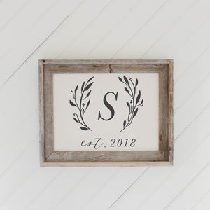 Personalized Initial With Laurels Barn Wood Framed Print