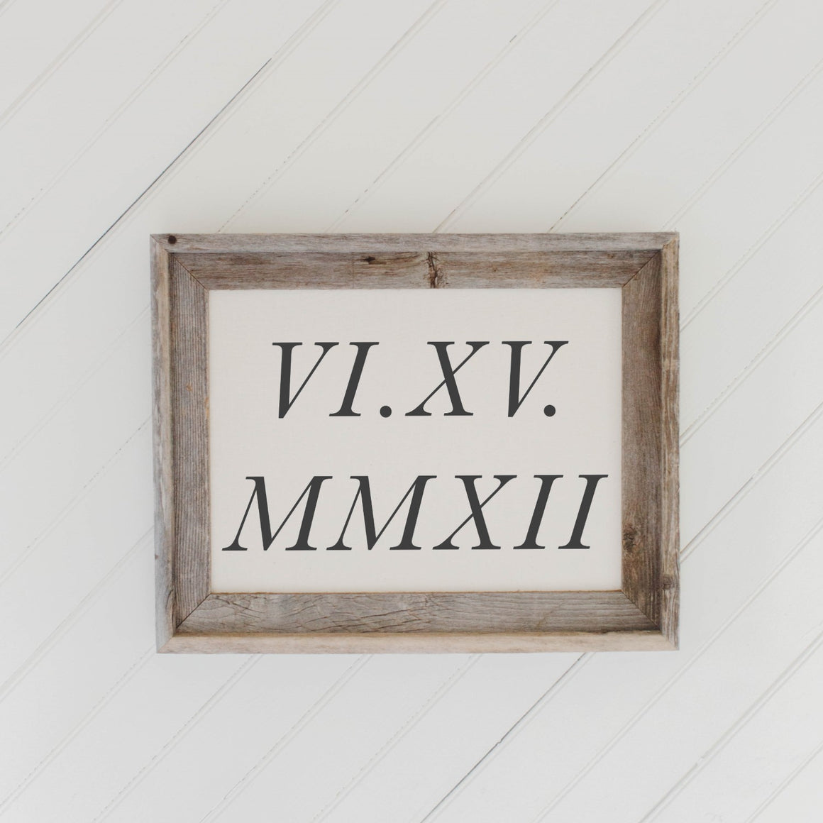 Personalized Roman Numerals Barn Wood Framed Print