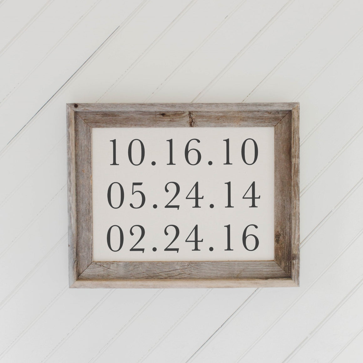 Personalized Special Dates Barn Wood Framed Print