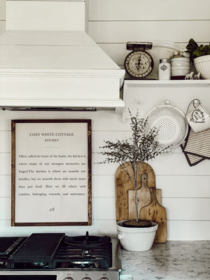 Cozy White Cottage Kitchen Wood Sign
