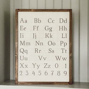 Vintage Alphabet Framed Wood Sign