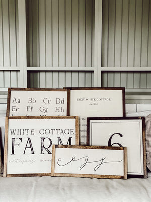 White Cottage Farm Framed Wood Sign
