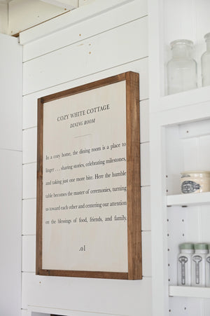 Cozy White Cottage Dining Room Wood Sign