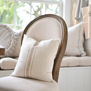 3 stripe Grain Sack Taupe Pillow