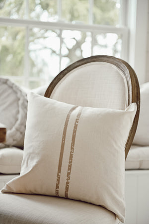 2 Stripe Grain Sack Taupe Pillow
