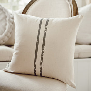 2 Stripe Grain Sack Charcoal Grey Pillow