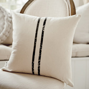2 Stripe Grain Sack Black Pillow