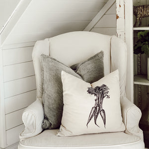 Carrots Black + White Pillow