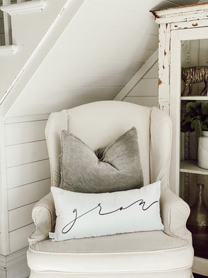 Cozy White Cottage Words Lumbar Pillow