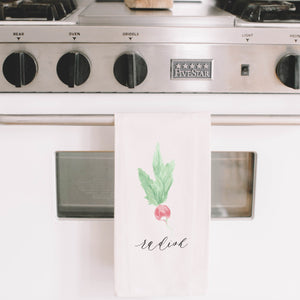 Radish Watercolor Tea Towel