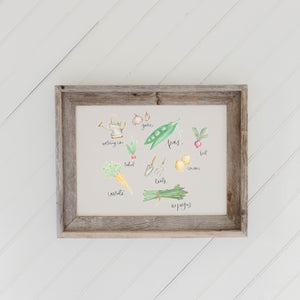 Vegetables Watercolor Barn Wood Framed Print