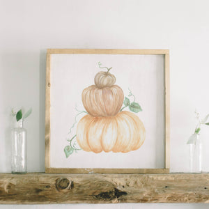 Pumpkin Stack Watercolor Framed Wood Sign