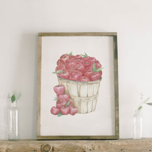 Apple Basket Watercolor Framed Wood Sign