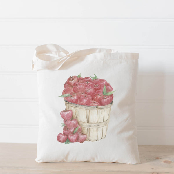 Apple Basket Watercolor Tote Bag