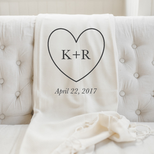 Personalized Heart, Initials, and Date Throw Blanket