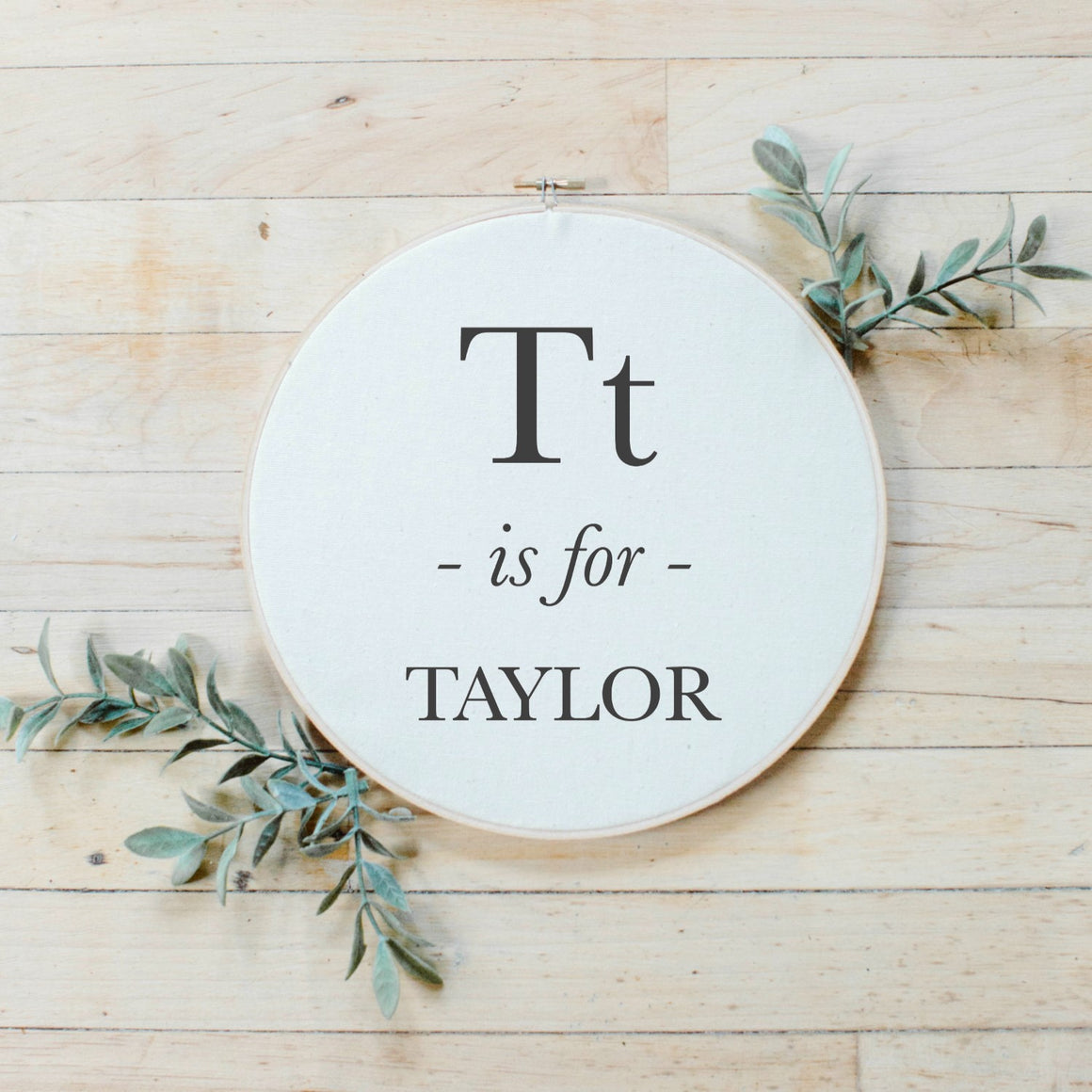 Alphabet Letter Faux Embroidery Hoop