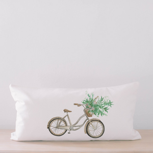 Floral Bike Lumbar Pillow