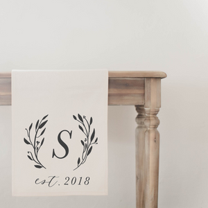 Personalized Initial with Laurel Table Runner