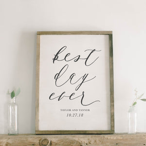 Personalized Best Day Ever Rectangle Framed Wood Sign