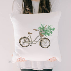 Floral Bike Watercolor Pillow