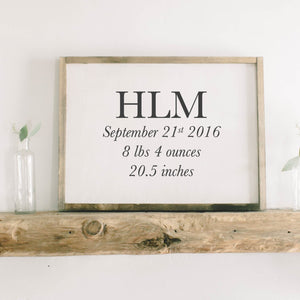 Personalized Birth Stats Rectangle Framed Wood Sign