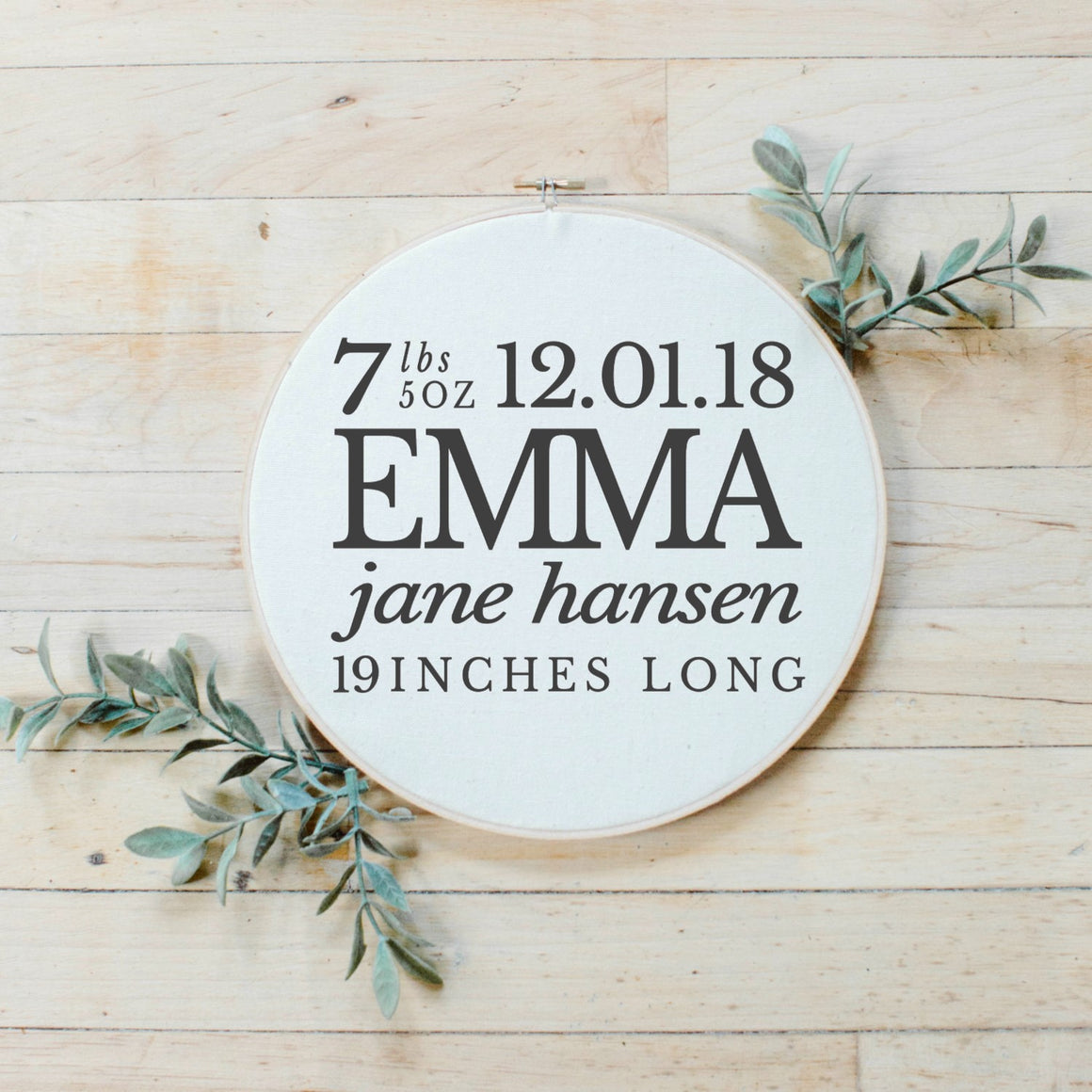 Personalized Birth Stat Faux Embroidery Hoop