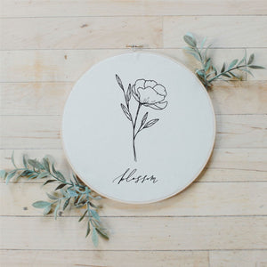 Blossom Wildflower Faux Embroidery Hoop