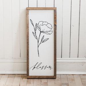 Blossom Wildflower Wood Sign