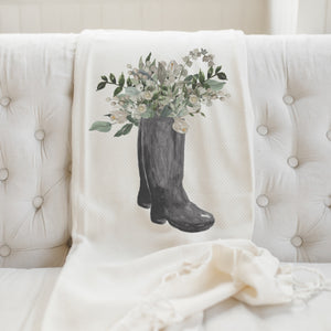 Boots Watercolor Throw Blanket