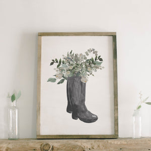 Boots Watercolor Framed Wood Sign