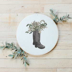 Boots Watercolor Faux Embroidery Hoop