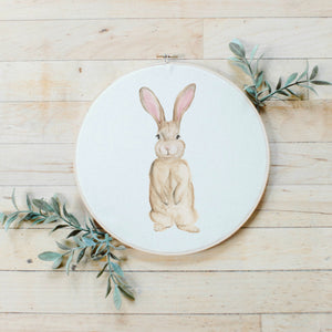 Bunny Watercolor Faux Embroidery Hoop