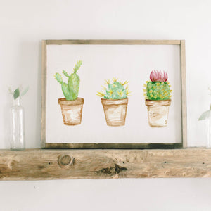 Cactus Watercolor Framed Wood Sign