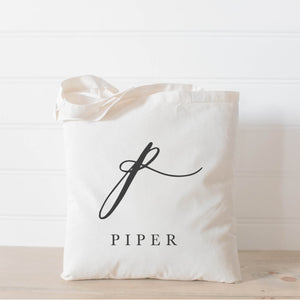 Personalized Calligraphy Initial Letter Tote Bag