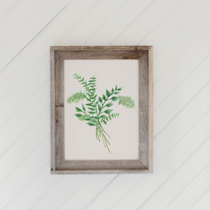 Eucalyptus Bunch Watercolor Barn Wood Framed Print