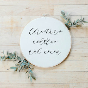 Christmas Cuddles and Cocoa Faux Embroidery Hoop