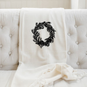 Christmas Wreath Throw Blanket