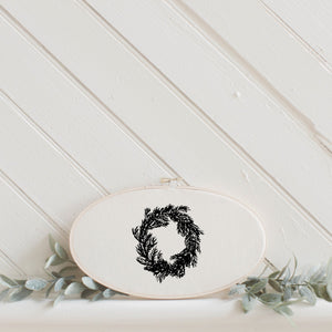 Christmas Wreath Faux Embroidery Hoop