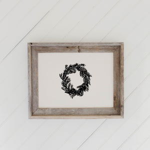 Christmas Wreath Barn Wood Framed Print