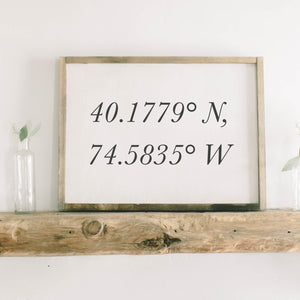 Personalized Coordinates Rectangle Framed Wood Sign